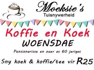 Woensdae Koffie en Koek Spesiale Aanbod in Mosselbaai