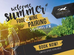Welcome Summer Food and Wine Pairing at Jakkalsvlei