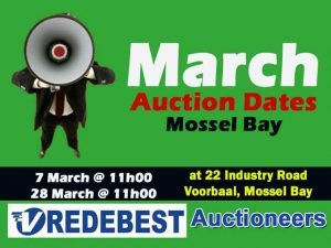 March 2017 Vredebest Auction Dates in Mossel Bay