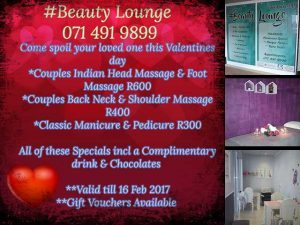 Valentine's Beauty Offers at Beauty Lounge Hartenbos
