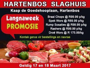 Langnaweek Slaghuis Promosie in Hartenbos