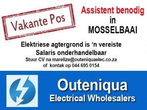 Vakante Pos beskikbaar in Mosselbaai by Outeniqua Electrical Wholesalers