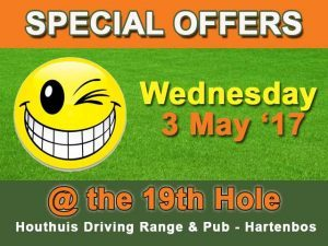 Wednesday Specials at @19 Hole Driving Range and Pub Hartenbos