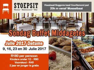 Julie 2017 Sondag Buffet Middagetes naby Vleesbaai en Boggomsbaai, Mosselbaai