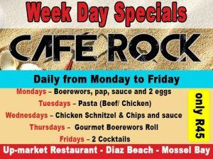 Week Day Restaurant Specials at Dias Beach Mossel Bay