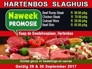 September Slaghuis Promosie in Hartenbos