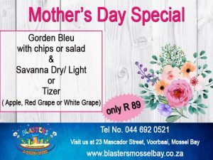 Mother's Day Restaurant Special at Blasters Mossel Bay
