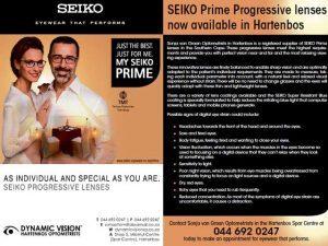 SEIKO Prime Progressive lenses now available in Hartenbos