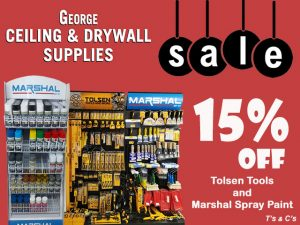 George Ceiling and Drywall Supplies May Sale